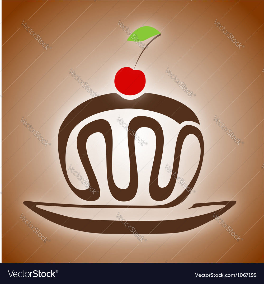 Chocolate cake with cherry vector | Price: 1 Credit (USD $1)