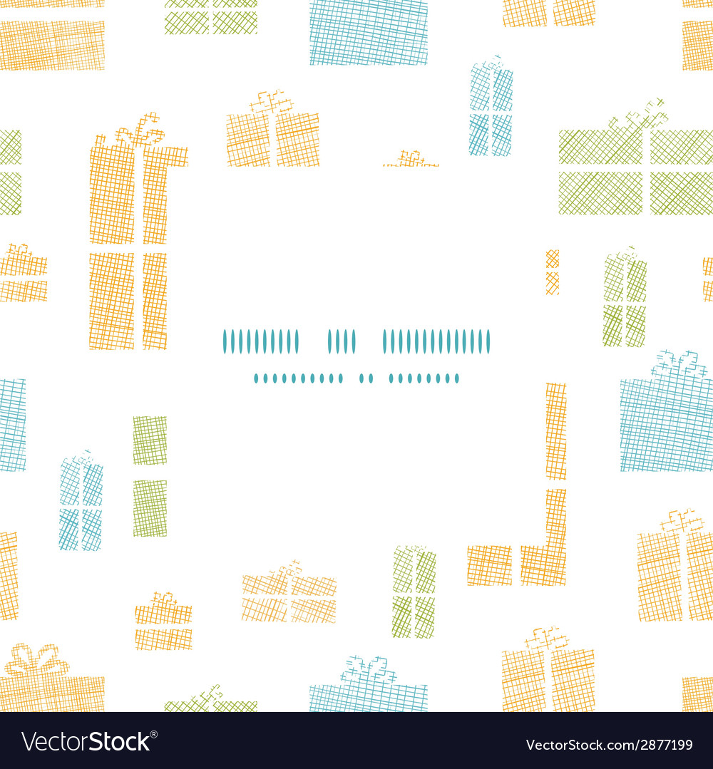 Colorful gift boxes textile texture frame seamless vector | Price: 1 Credit (USD $1)