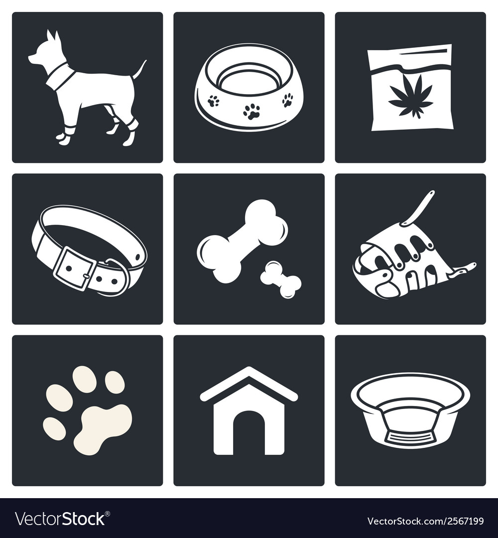 Doggy icons set vector | Price: 1 Credit (USD $1)