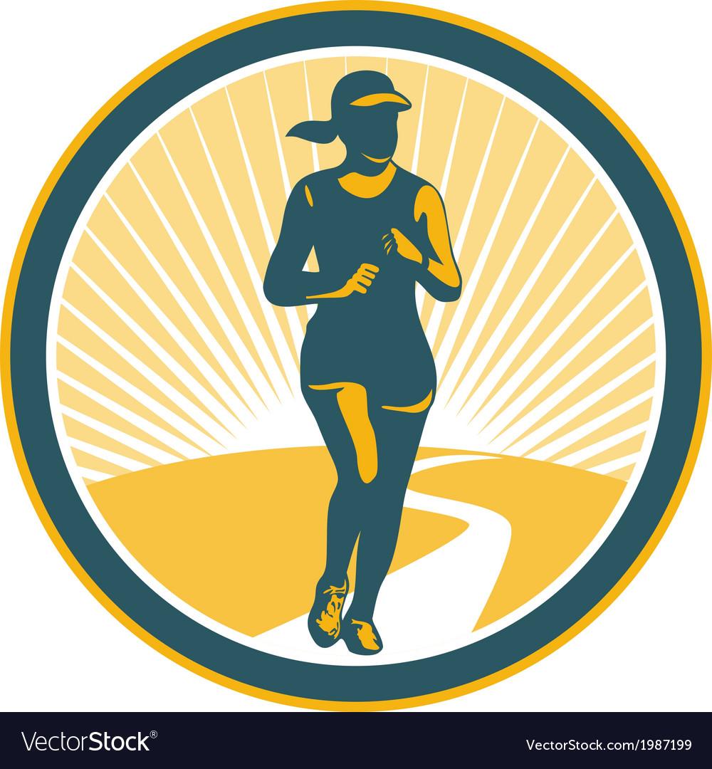 Female marathon runner circle retro vector | Price: 1 Credit (USD $1)