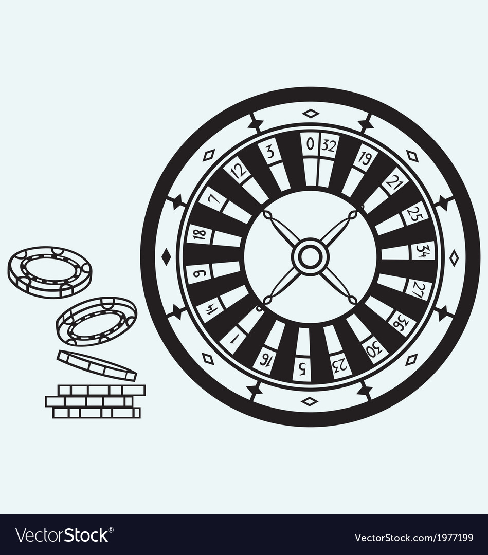 Gambling roulette and chips vector | Price: 1 Credit (USD $1)