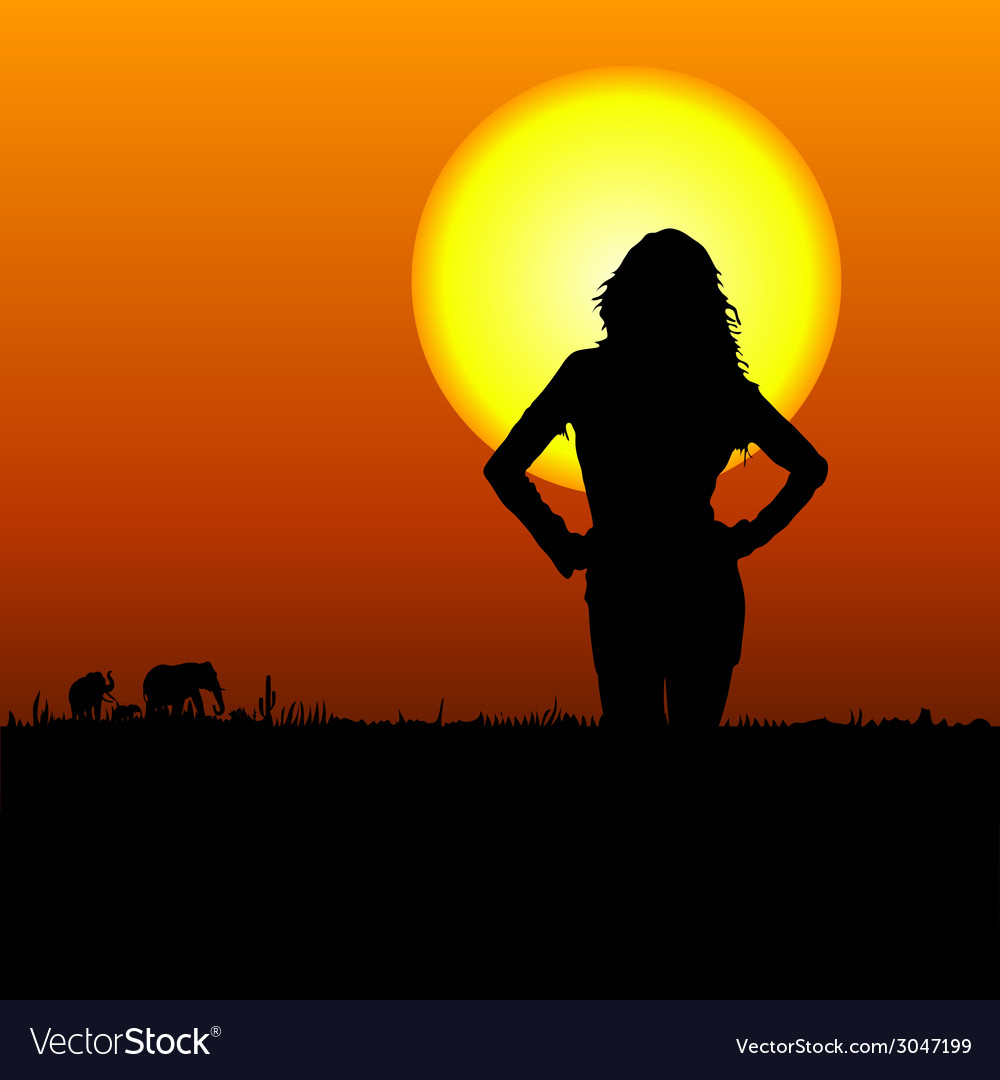 Girl on the safari vector | Price: 1 Credit (USD $1)