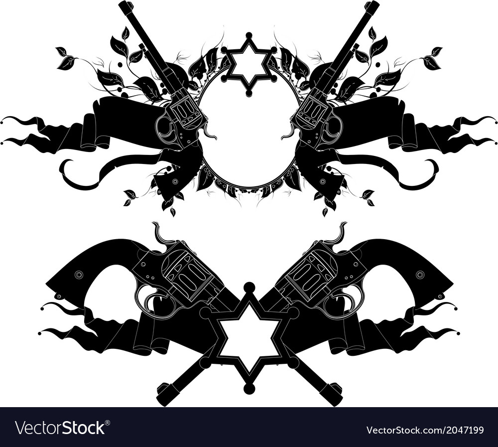 Set of ornamental elements with guns vector | Price: 1 Credit (USD $1)
