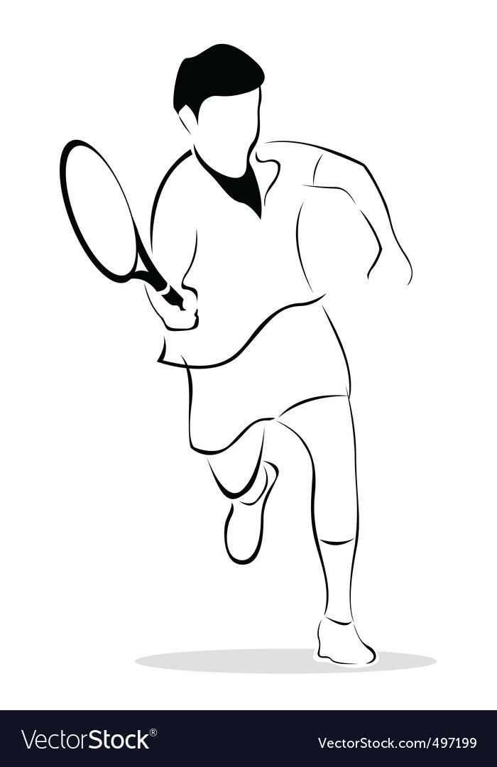 Sketch of tennis player vector   Price: 1 Credit (USD $1)