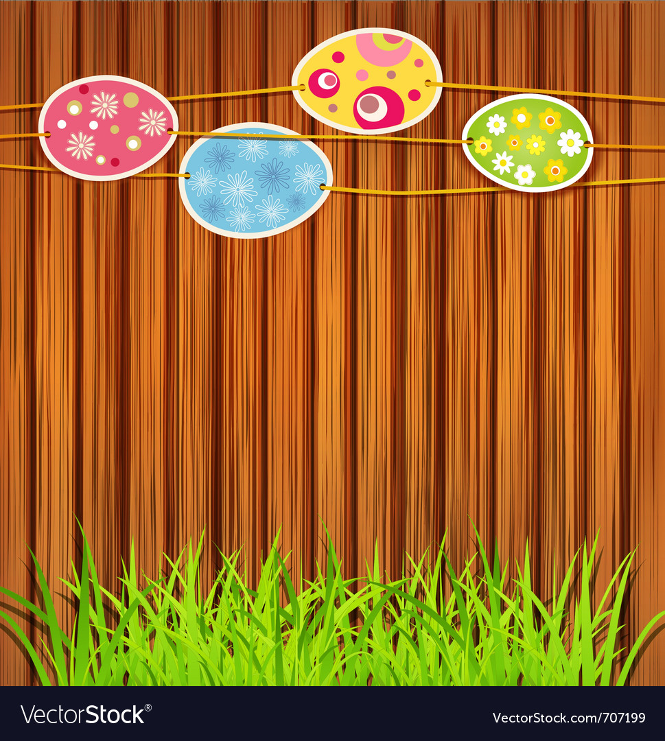Wooden wall easter eggs vector   Price: 1 Credit (USD $1)