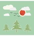 Retro flat design nature landscape with sun trees vector