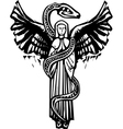 Winged angel and serpent vector