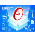 Bright delivery box and clock on blue backgr vector