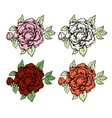 Set of ink style hand drawn colored roses vector