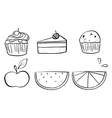 Doodle sets of different foods vector
