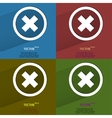 Color set cancel flat modern web button with long vector