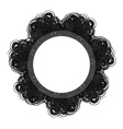 Black lacy round vintage frame with text space vector