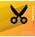 Scissors flat modern web button with long shadow vector