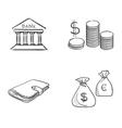 Hand draw doodle bank coin money cash wallet vector