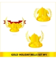 Glass gold bells set isolated vector