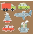 Set of transport stickers for babies vector