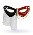 Red black carnival mask with veil vector