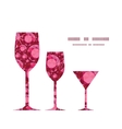 Ruby three wine glasses silhouettes pattern vector