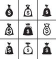 Money bags icon set vector