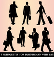 7 silhouettes for businessman with bag vector