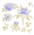 Blue roses set vector