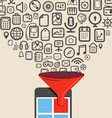 Icons flows to the modern digital tablet device vector