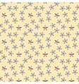 Seamless retro pattern of small flowers on blue vector