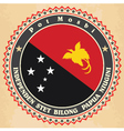 Vintage label cards of papua new guinea flag vector