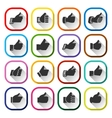 Thumbs up set white buttons vector
