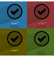 Color set check mark flat modern web button with vector