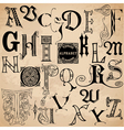 Vintage alphabet - hand drawn vector