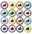 Thumbs up set round buttons vector