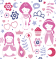 Cute pattern with princesses vector