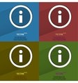 Color set info flat modern web button with long vector