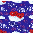 Seamless pattern the hearts on a cloud vector