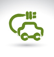 Hand drawn green eco car icon brush drawing vector