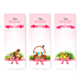 Happy easter banners colorful easter eggs and vector