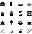 Fast food icons and symbols silhouette set vector