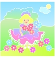 Little girl with flowers on the meadow vector