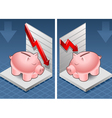 Isometric piggy bank box with red arrow up vector