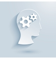 Human head with gears paper icon vector