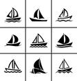 Sail boat icons set vector