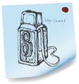 Drawing of vintage camera on sticky paper vector