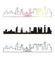 Lisbon skyline linear style with rainbow vector