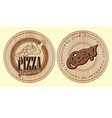Set of boards for pizza with inscriptions vector