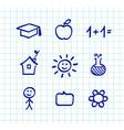 School doodle icons  blue vector