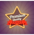 Badge with star and premium quality label on dark vector