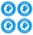Blue bird social media follow retro labels vector