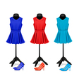 Fashion boutique background with colorful dresses vector