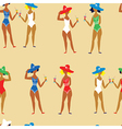 Beach girl and cocktails funny seamless pattern vector